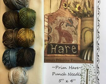 Kit PN253 Prim Hare Punch Needle Weavers Cloth Valdani Threads Paper Pattern