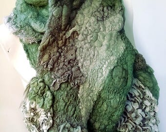 Green and Grey Textured Felt Scarf with Vintage Doilies and Lace - Eco Friendly Textile Art