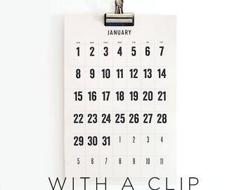 2018 Wall Calendar with a Clip, 18 months, typographic, simple, large dates