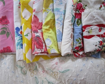 Cutter Lot 6+ Tablecloths Bright Colorful Cotton Flower Chenille Pastel Applique