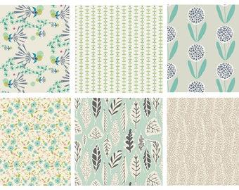BUNDLE - Safari Moon, Winged - Art Gallery Fabrics - Bonnie Christine - Modern Cotton Quilting Fabric - Birds Flowers Leaves Nature - Mint