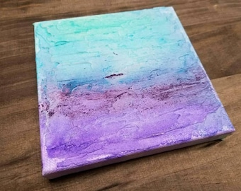 Small Shore, Abstract Painting Wall Art Contemporary Original on Canvas, Home Decor Modern, 5x5