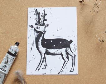 Deer lino print