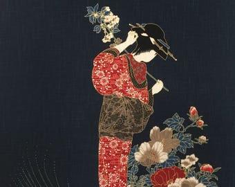 Japanese noren panel indigo blue Geisha