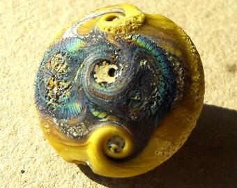 Handmade lampwork glass bead- rustic  lentil bead -Serpent Storm- in avocado green silvered ivory and rainbow raku