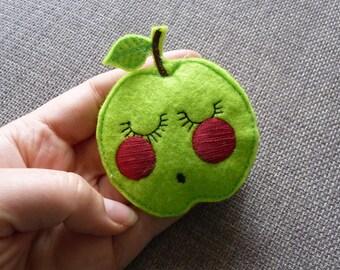 Green Granny Smith Apple Felt Pin Brooch