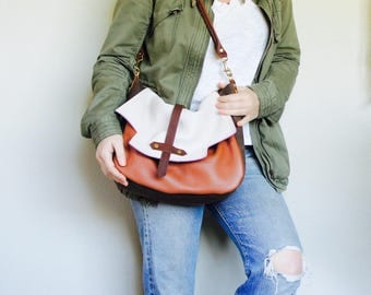 NEW STYLE//Mixed Leather Satchel with Oil Tanned Leather Clip On Purse Strap