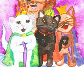 Star Cats Christmas ACEO Art Print Holidays Winter Seasonal Watercolor ACEO