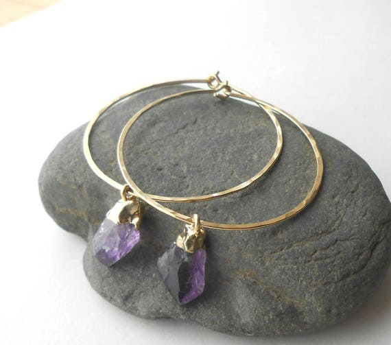 Raw Amethyst Earrings, Gold Hoop Earrings, Hammered Gold Filled Hoops With Small Amethyst Nuggets, Natural Gemstone