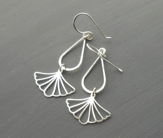 Long Silver Earrings, Sterling Silver Dangle Leaf Charm Earrings