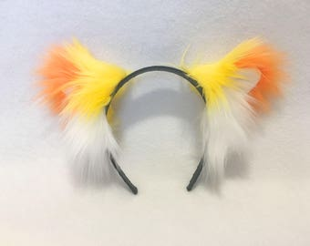 CHESHIRE CAT EARS | Candy Corn | Belfry Costume Creations | Handmade Headband Furry Rave Goth Anime Neko Nekomimi Costume Cosplay Halloween