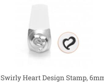 Impress Art Swirly Heart Metal Stamp, 6mm, Quality Professional Metal Stamp for Jewelry Making