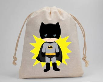 Batman, Superhero, Boy Birthday, Birthday Party, Favor Bags, Candy Bags, Treat Bags, Party Bags, Muslin Bags, 5x7, Fabric Bags