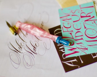 Calligraphy oblique pen : Baby pink x blue water rubatopen
