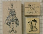 Edwardian Victorian Fashion. Art journal supplies. rubber stamp lot (3) wood mounted. create tags. art collage. planner. corset. dress form