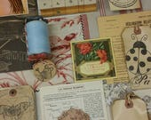 French Garden Art Inspiration Kit journal pack. Paris. hand stamped tags. textiles. botanical. vintage paper ephemera. found objects