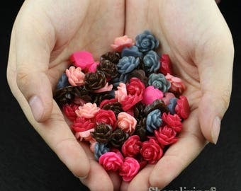 Clearance Sale -  Lots of 100pcs Mixed Color 3D Resin Flower Cabochons Charms  -- CLS003T