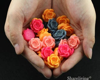 Clearance Sale -  Lots of 100pcs Mixed Color 3D Resin Rose Flower Cabochons Charms  -- CLS004H