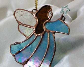 Handmade Stained Glass Suncatcher Angel holding a Star