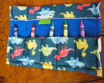 Colorful Dinosaur  Kindergarten First Grade Crayon Keeper Holder
