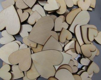 Wooden Flatback Heart for cardmaking Valentines Crafts
