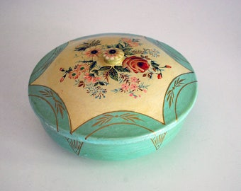 Paper Mache Box, Japan Papier Mache Bowl, Turquoise Green Storage Container, Hand Painted Folk Art, Asian Lacquer Dish, Cottage Chic Decor