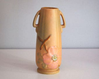 Weller Vase Wild Rose, 1930s Fine Art Ceramics, Antique Art Pottery, Pink Green Flower Vase, Cottage Chic Decor, Arts and Crafts