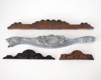 Carved Wood Pediments, Architectural Salvage, Furniture Fragments, Rustic Decor, Vintage Wall Hanging, Assemblage Supplies, Hand Carved Wood