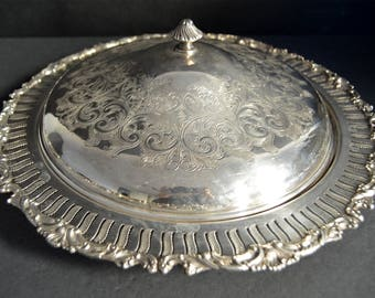 WM Rogers Silver Dome Covered Entree Serving Bowl Old English Reproduction Art Deco Casserole with Lid -Dish with Ornate Cover Silveplated