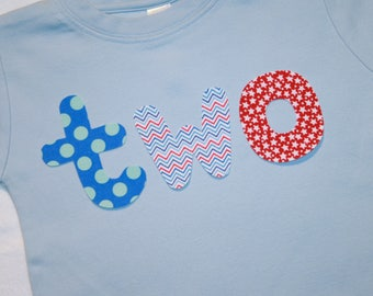 Boys lowercase TWO Shirt with for 2nd Birthday - size 2 light blue shirt navy, red, primary blue lettering in chevron and argyle