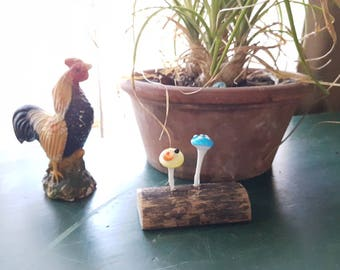 Yellow and Blue Toadstools on Wood Shelf Decor