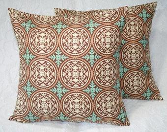"16x16 Pillow Cover 16"" Modern Geometric Scrollwork Decorative Throw Pillow Cover -  Aviary 2 Scrollwork in Caramel (16-351**)"