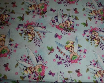 FAT QUARTER  Tinkerbell Fabric DISNEY TiNKERBELL Tink Watercolor Flowers Birds Fairy Quilting Fabric 100% Cotton