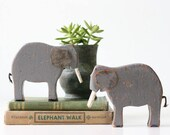 Vintage Elephants, Wooden Toy Elephants, Handmade, Set of 2