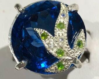 London Blue topaz silver ring size 7