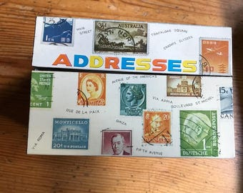 """old recipe box metal cool says addresses but would be great as a recipe box  3"""" by 4"""" file cards  5"""" by 3"""" by 4"""""""