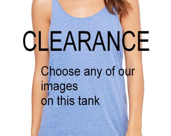 CLEARANCE Light Blue Tank Slouchy Tank Top Tri Blend You Choose Image