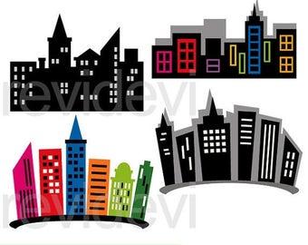 50% OFF SALE Superhero city buildings clipart - building blocks clip art, digital images - instant download, commercial use
