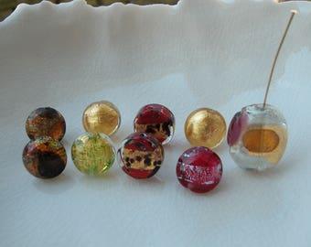 9 Murano Glass Bead Mix, Miro Bead, Gold Murano beads