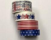Washi tape 4 pack 5 yards each Patriotic Mix - Stars Stripes