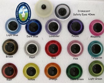 1 PAIR 40mm or 45mm Iridescent Safety Eyes with Washers for Large Craft Progjects, Puppet, Teddy Bear, Doll, Monster, Crochet, Sew (IPE)