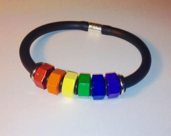 Rainbow Hex Nut wristband with magnetic clasp Pride bracelet