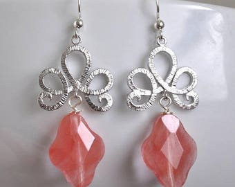 Pink Earrings,  Cherry Quartz,  Dangle Earrings,  Gift For Her,  Mothers Day,  Fashion Jewelry,  Sterling Silver Earrings