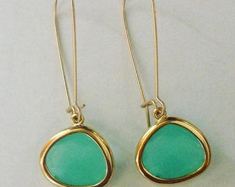 Mint Blue Earrings, Dangle earrings,  Gold filled Ear wires,  Mint Blue Glass,  Drop Earrings,  Dangle Gold Earrings,  Gold Jewelry