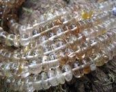 Natural Topaz beads golden 8 inch strand smooth polished rondelles