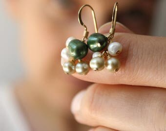 Green Pearl Earrings Dangle . Green and Gold Earrings Wedding Jewelry . Mother of the Bride Jewelry - Vigne Collection