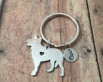 German Shepherd initial key ring- dog breed key ring, gift for GSD owner, GSD keychain, police dog key chain, K9 key ring, police keyring