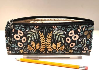 Makeup Bag - Slim - Brush Bag - Pencil Pouch - Small Zippered Pouch - Padded Pouch - Cotton Linen Canvas - Metallic - Botanical - Floral
