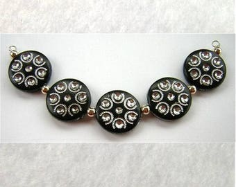 New 5 STRIKING Black and Silver ETCHED Acrylic Disc Beads 18x5mm