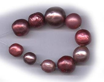 vintage glass pearls baroque and assorted haskell burgundy raspberry pink metallic, 8mm-12mm TEN fabulous beads